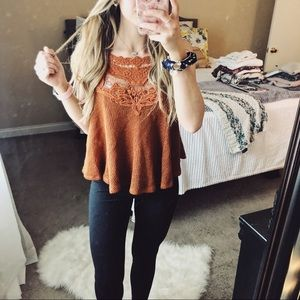Tops - Burnt Orange Lace Halter Swing Tank Top
